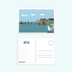 postal acantilados playa Gueirua