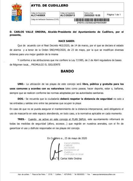 Bando del Ayuntamiento de Cudillero sobre el uso de las playas