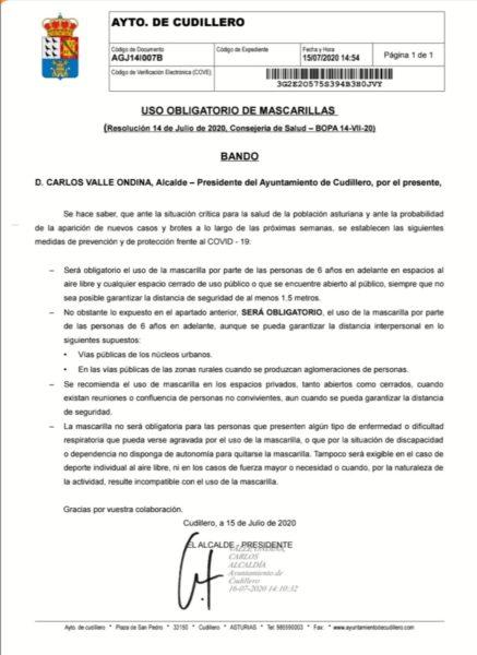Bando del Ayuntamiento de Cudillero sobre el uso obligatorio de la mascarilla