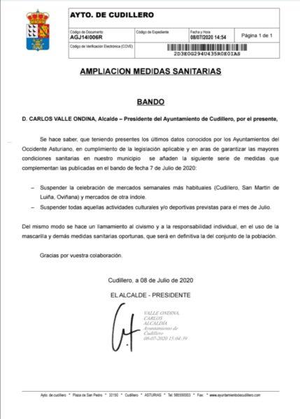 Bando del Ayuntamiento de Cudillero en el que se suspenden mercadillos y actividades (fiestas) en el mes de julio